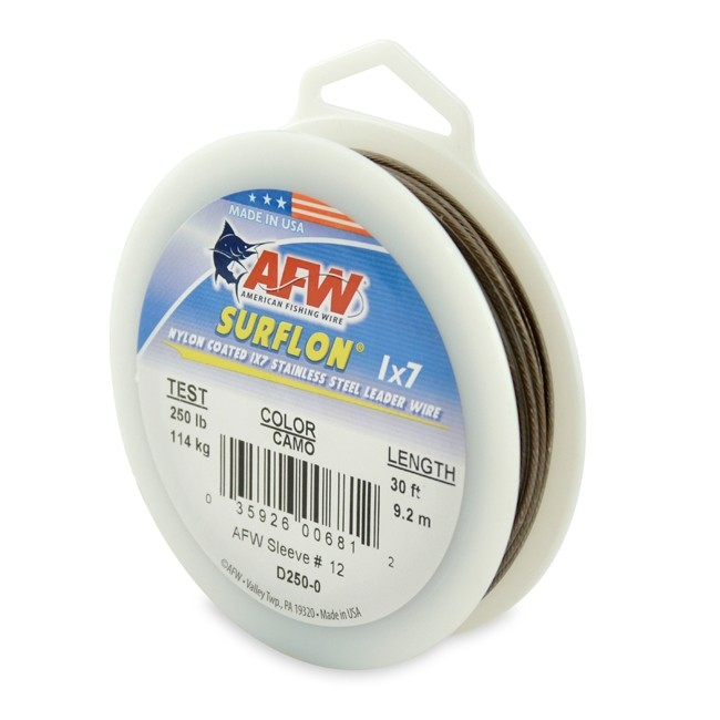 AFW Surflon 1x7 Camo Nylon Coated Stainless Steel Leader Wire