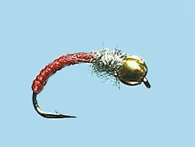 Turrall Bead Head Caddis Worm Red
