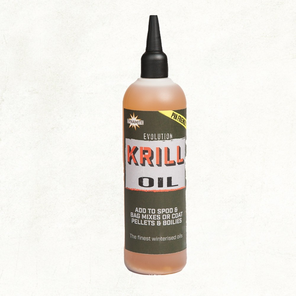 Dynamite Evolution Krill Oil, add to spod & bag mixes or coat pellets & boilies.