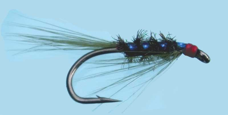 Turrall slim line nymph diawl bach holo blue size 10 for Slime line fishing line