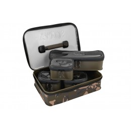 Fox Aquos Camolite EVA Bag Systemm Supplied with four Khaki accessory bags Ideal for carrying multiple essentials such as end tackle, PVA, leads, stick mixes etc 1 long internal bag: 33cm x 10cm x 6cm 3 short internal bags: 13cm x 9cm x 6cm Unique Fox Cam