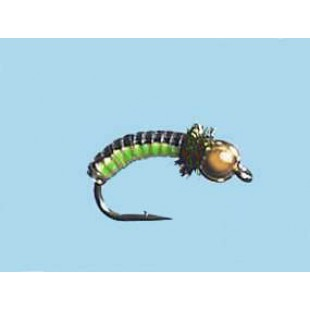 Turrall Juicy Grub Black Lime Bead Head Size 12